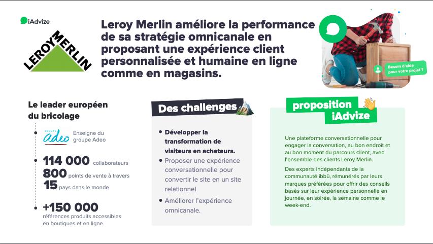 Etude de cas Leroy Merlin & iAdvize : Leroy Merlin améliore la performance de sa stratégie omnicanale en proposant une expérience client personnalisée et humaine en ligne comme en magasins