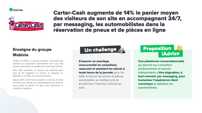 Etude de cas Carter-Cash & iAdvize : Carter-Cash augmente de 14% le panier moyen des visiteurs de son site en accompagnant 24/7, par messaging, les automobilistes dans la réservation de pneus et de pièces en ligne