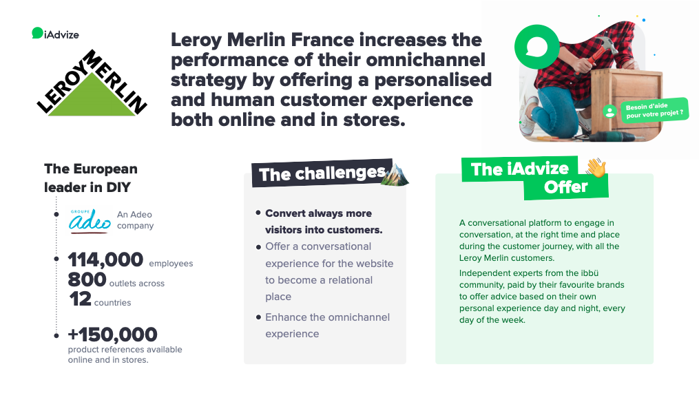 Leroy Merlin success story with iAdvize: Leroy Merlin France increases the performance of their omnichannel strategy by offering a personalised and human customer experience both online and in stores.