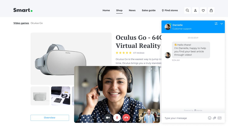 smart. video chat window iAdvize occulus conversational platform